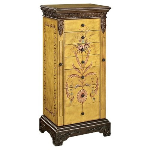 Jewelry Armoire with Hand Painted Floral Arrangement in Parchment Finish