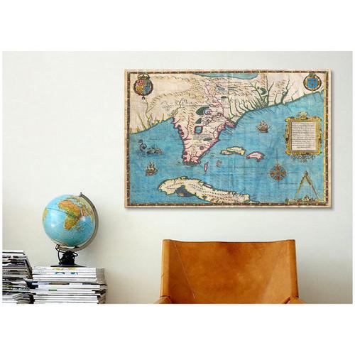 iCanvas Jacques Le Moyne De Morgues Map of Florida & Cuba (1588) Canvas Print Wall Art