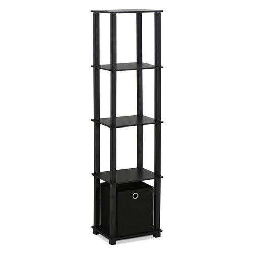 Furinno Black MDF and Plastic 5-tier Decorative Display Shelf with 1 Bin