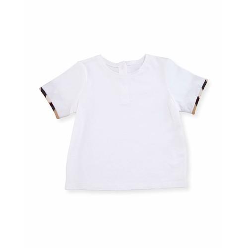 BURBERRY Mini Tulisa Cotton Check-Trim Tee, White, Size 6M-3