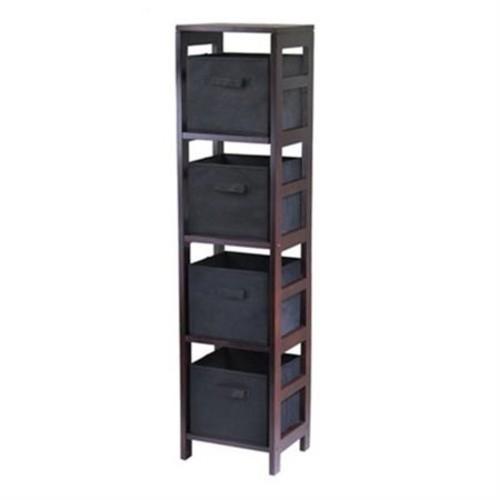 Winsome Wood Capri 4-Section N Storage Shelf, Espresso Finish, with 4 Foldable Black Baskets