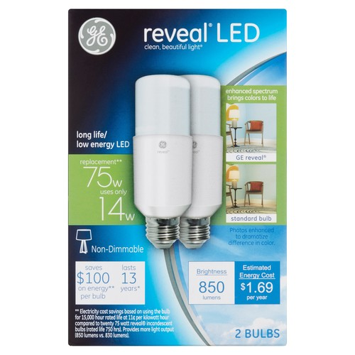 GE Reveal 75W Equivalent (Uses 14W) LED Bright Stik A21 Bulb, 2-Pack