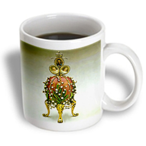 3dRose - Faberge Eggs - Picturing Fabergeu0026#174; Egg Lilies Of The Valley - 15 oz mug