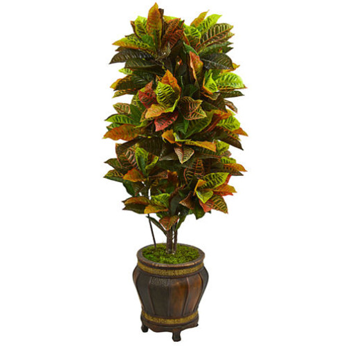5.5 Croton Artificial Plant in Decorative Planter (Real Touch)
