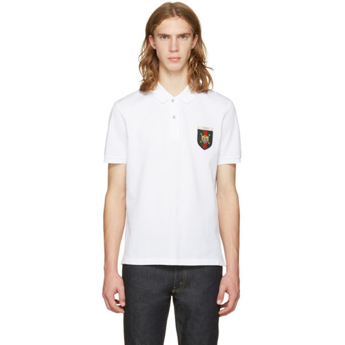 GUCCI White Embroidered Tiger Crest Polo