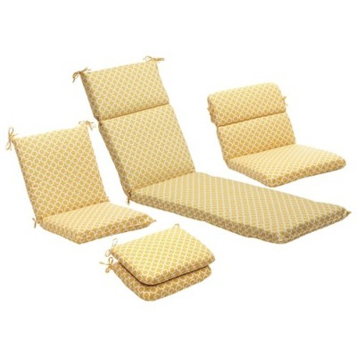 Outdoor 2-Piece Lumbar Toss Pillow Set - Yellow/White Geometric 24\