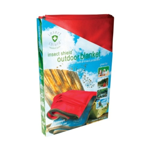 Insect Shield Outdoor Blanket with Built-In Insect Protection - Color Will Vary Green, Red or Blue