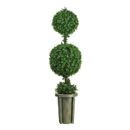 nearly natural 5-ft. Double Ball Leucodendron Topiary - Indoor & Outdoor