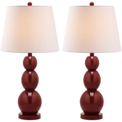 Safavieh Lighting 27.5-inch Jayne Three Sphere Glass Red Table Lamp (Set of 2)