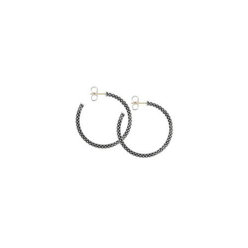 Thin Caviar Hoop Earrings