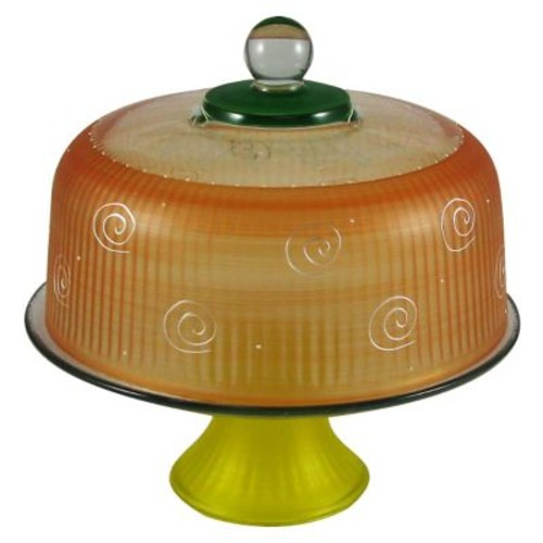 Golden Hill Studio Frosted Curl Cake Stand; Orange