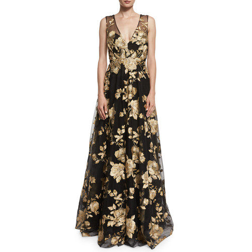MARCHESA Sleeveless Floral-Embroidered Ball Gown, Black
