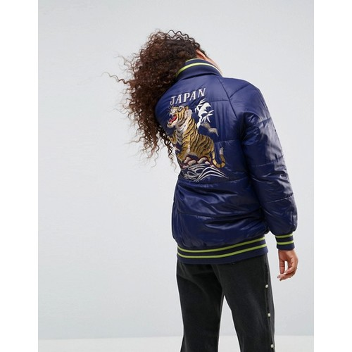 ASOS Puffer Coat with Sporty Rib and Tiger Embroidery