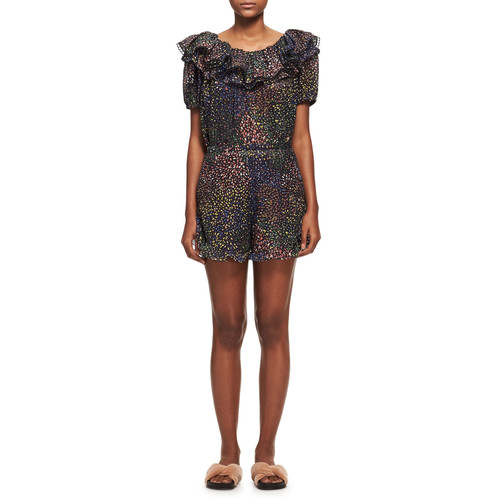 CHLOE Ruffled Short-Sleeve Dress, Blue Pattern