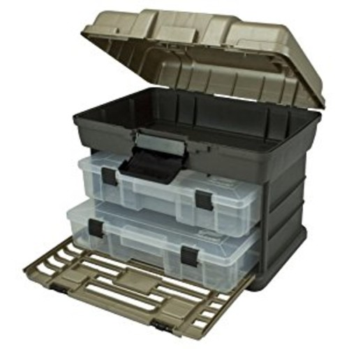 Plano Molding 1372-30 Stow N Go Tool Box with 2-Utility Organizers, Graphite Gray and SandStone [2-Utility]