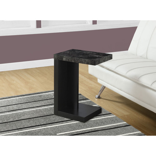 Monarch Coffee, Console, Sofa & End Tables Accent Table-Black/Grey Marble Look Top