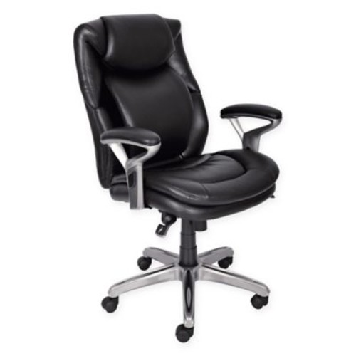 Serta Wellness Leather Executive Office Chair in Black
