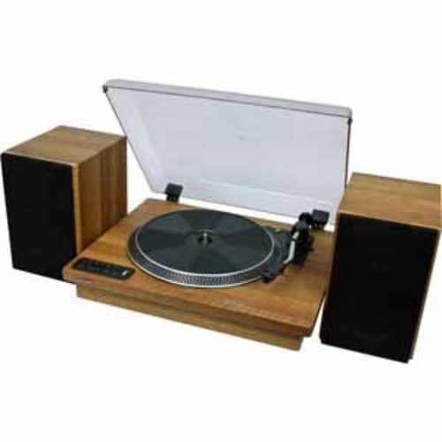 Toshiba - Bluetooth Stereo Turntable with Speakers - Brown