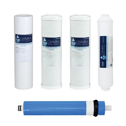 Olympia Water Systems Complete 80 GPD 5-Stage Replacement Filter Set for Industry Standard Size Reverse Osmosis System