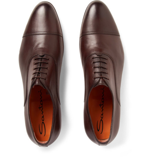 Santoni - Cap-Toe Leather Oxford Shoes
