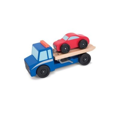 Melissa & Doug - Flatbed Tow Truck Wooden Toy Set