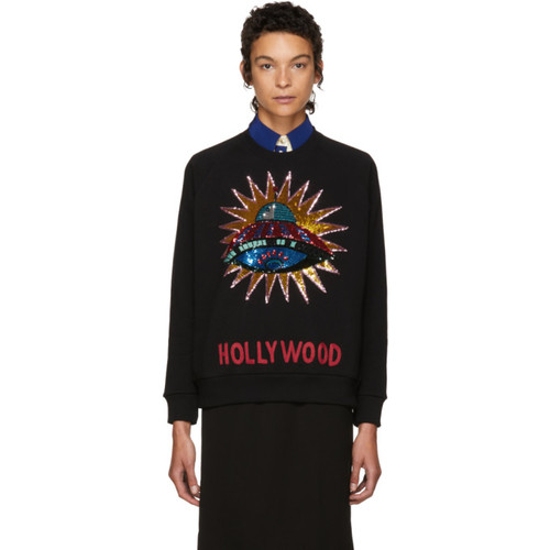 GUCCI Black Sequinned Ufo Sweatshirt