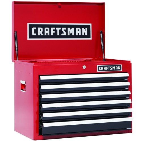Craftsman 26 in. 6-Drawer Heavy-Duty Ball Bearing Top Chest - Red/Black