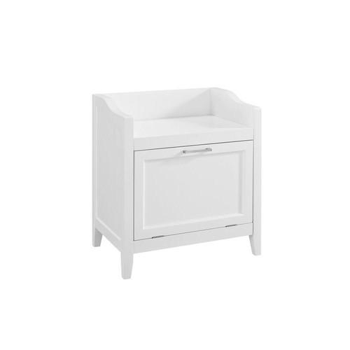 Simpli Home Avington Ready to Assemble 22x24.3x15 in. Bar Cabinet Storage Hamper Bench in White