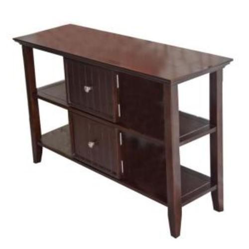 Simpli Home Acadian Dark Tobacco Brown Storage Console Table