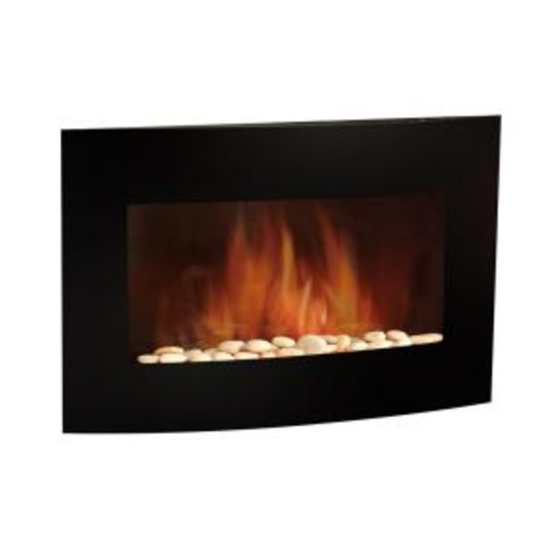35 in. Electric Wall-Mount Fireplace in Black
