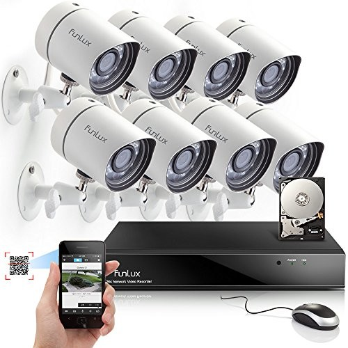 Funlux 8CH NVR 720P HD Night Vision IP Surveillance Camera Kit CCTV Security Camera System with 500GB HDD & Smartphone Scan QR Code Quick View