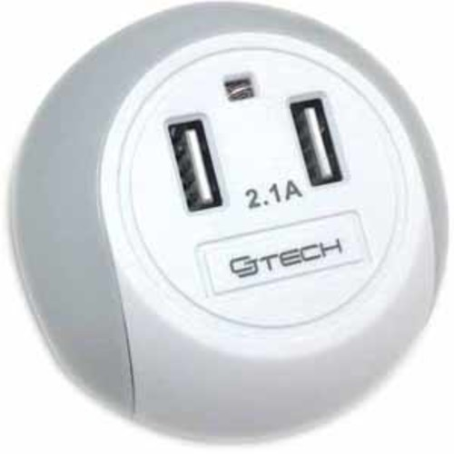 CJ Tech Dual-USB 2.1A Home Charger with Night Light