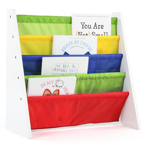 Tot Tutors Kids Book Rack Storage Bookshelf, White/Primary