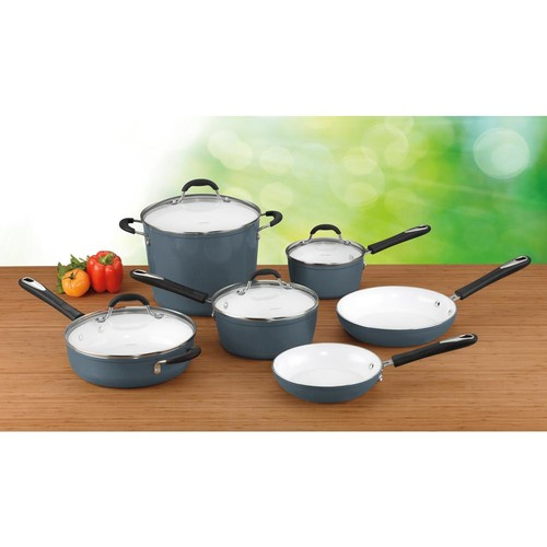 Cuisinart 10-Piece Elements Ceramica Polar White Non-Stick Cookware Set with Lids