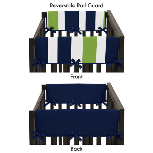Sweet Jojo Designs Navy Blue and Lime Green Stripe Collection Side Crib Rail Guard Covers by