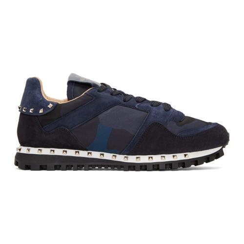 VALENTINO Navy  Garavani Camo Rockstud Sneakers