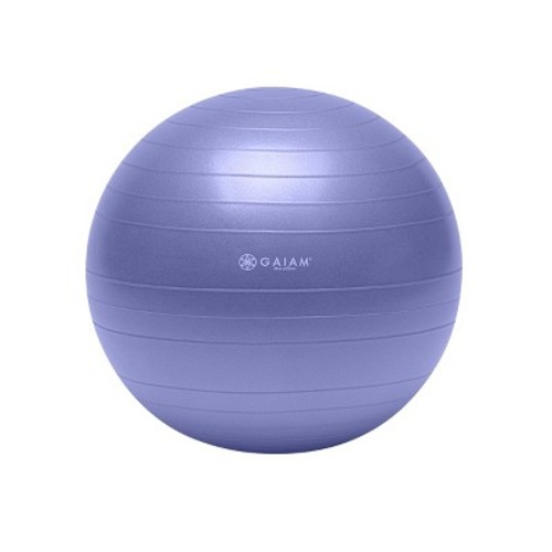 Gaiam Total Body Balance Ball Kit - Includes Anti-Burst Stability Exercise Yoga Ball, Air Pump, & Workout DVD [Without Stretch Strap, Purple (55cm)]