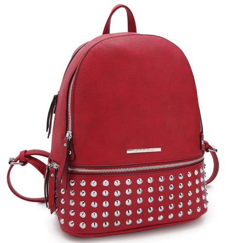 Dasein Medium Spiked Studded Backpack [option : Red]