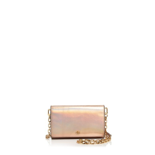 TORY BURCH Robinson Metallic Leather Chain Wallet