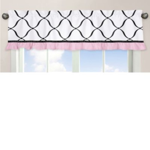 Sweet Jojo Designs Princess Window Valance in Black/White/Pink