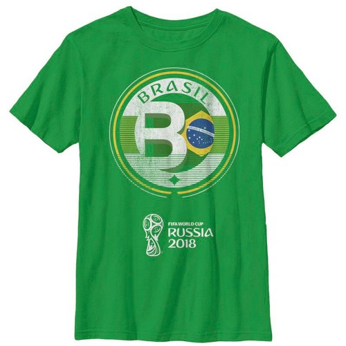Fifth Sun Youth FIFA 2018 World Cup Russia Brazil Contrast Round Green T-Shirt