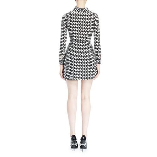 SAINT LAURENT Polka Dot Ruffle-Front Dress, Black/White