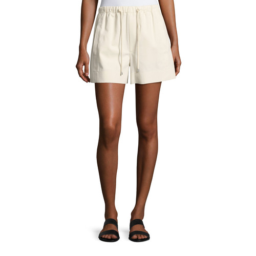HELMUT LANG Drawstring Pull-On Cotton Shorts, White