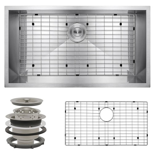 AKDY Handcrafted All-in-One Undermount Stainless Steel 32 in. x 18 in. x 9 in. Single Bowl Kitchen Sink
