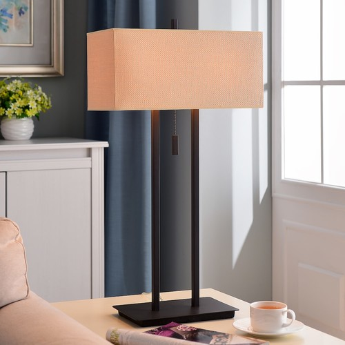 Kenroy Home 30816BRZ Emilo Table Lamp with 16 inch Tan Textured Woven shade, Bronze [Bronze]