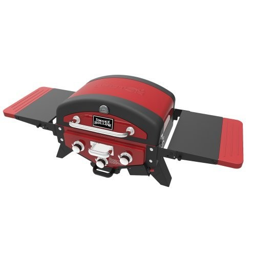 Smoke Hollow VECTOR Series 3-Burner Portable Tabletop Grill Propane Gas in Red with Side Tables