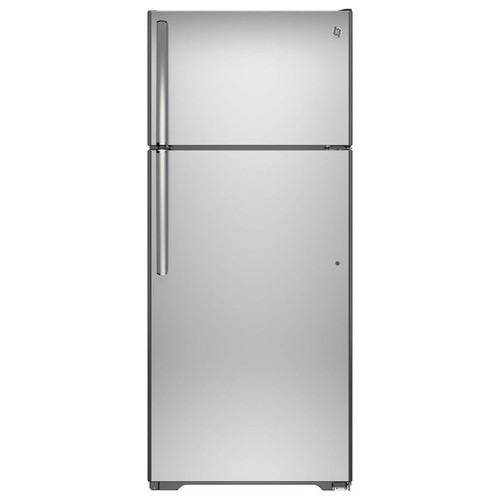 GE - 17.5 Cu. Ft. Frost-Free Top-Freezer Refrigerator - Stainless Steel