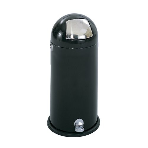 Safco Products 9722BL Dome Step-On Waste Receptacle, 15-Gallon, Black [Black]