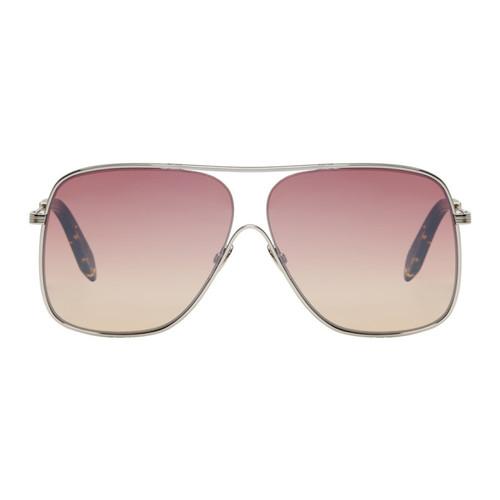VICTORIA BECKHAM Silver & Pink Loop Navigator Sunglasses