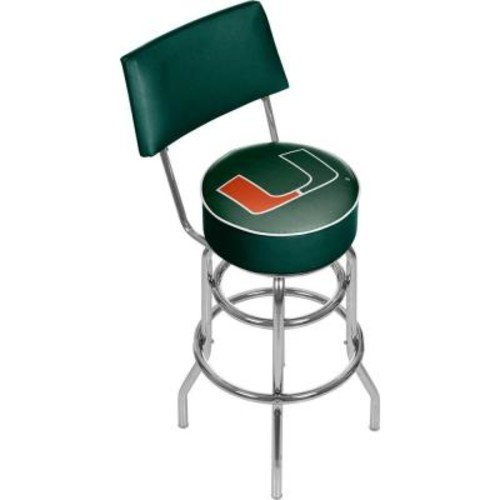 Trademark University of Miami Wordmark 31 in. Chrome Padded Bar Stool